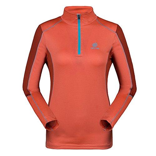 emansmoer Femme Manches Longues 1/4 Zip Pullover Tops Respirante Outdoor Randonnée Course Sport Moisture Wicking T-Shirt (XX-Large, Orange)