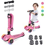 Kick Scooter for Kids, 2 in 1 Scooters Toddlers for Kids, Three Wheels with PU Light-Up, Adjustable Height Back Brake, Kids Scooter & Toddler Scooter for Ages 1-14 Years Old Boys and Girls