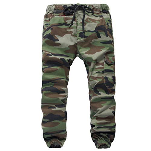 YOUJIAA Cargohose für Jungen Jogginghose mit Bündchen Drawstring Trousers Military Muster - Camo #2, 180 (Relaxed)