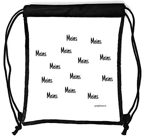 clapur Rucksack durchsichtig, transparenter Turn-Beutel für Festival, Konzert, Party Clear Secure Safe Bag Aufdruck: Meins