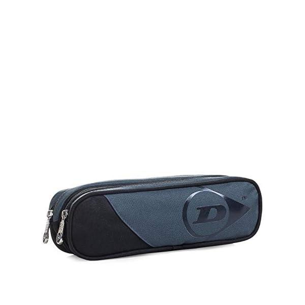 41X17glOpeL. SS600  - DUNLOP - Estuche Plumier Portatodo con Doble Bolsillo Independiente con Cremallera. Muy Resistente. Poliéster. Diseño. 01918, Color Gris