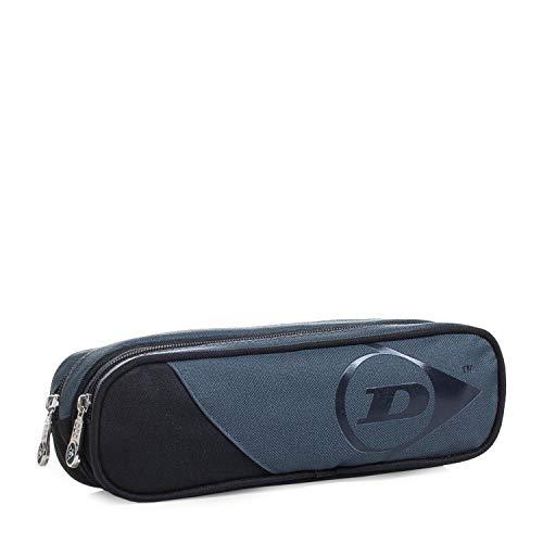 41X17glOpeL - DUNLOP - Estuche Plumier Portatodo con Doble Bolsillo Independiente con Cremallera. Muy Resistente. Poliéster. Diseño. 01918, Color Gris