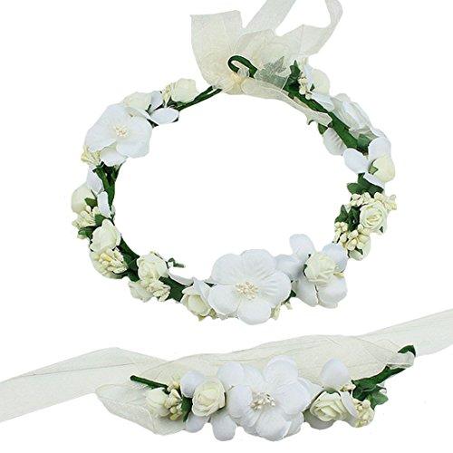 AiSi - Corona de flores con pulsera, banda para la muñeca, cinta para el pelo, corona de flores, estilo bohemio, para festival, boda, novia, fiesta de dama de honor Blanco Talla única