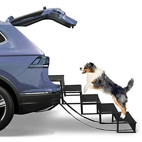 TELAM Rampa Perros Coche Plegable, Escalera para Perros Plegable para Coche con 5 escalones pequeños Utilizable para Todos los vehículos, ampa para Perros con Capacidad para hasta 176 lb/80KG