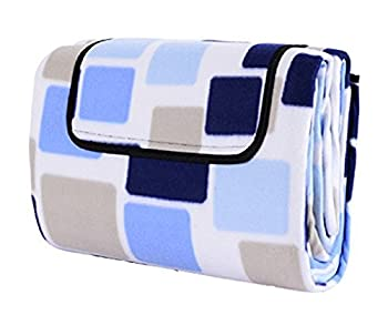 TUHE Picnic & Outdoor Blanket 3-Layer with Water-Resistant Backing for The Beach,Camping on Grass Waterproof Sandproof 80 x 60 inches  Magic Blue Grids