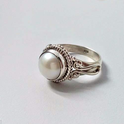 Süßwasserperle Silberring, Perlenring, 925 massivem Sterling Silber Ring, Perlenschmuck, Perlenring für Frauen, handgemachte Ringgröße 14 bis 22 DE