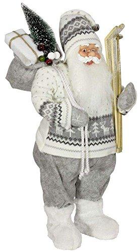 Christmas Paradise Kerstman Santa Nikolaus Anton met mooi gezicht en vele details/maten ca.60cm/grijs-witte pullover, wit-grijze muts, grijze broek, vachtlaarzen - Trendyshop365