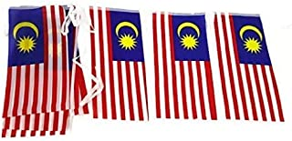 Terrapin Trading Ltd Malaysia Malaysian Flag Bunting 15 x Flag 15x30cm Total Length >5M Asia