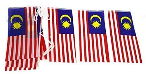 Terrapin Trading Ltd Maleisië Maleisische Vlag Bunting 15 x vlag 15x30cm TOTALE LENGTE >5M asia