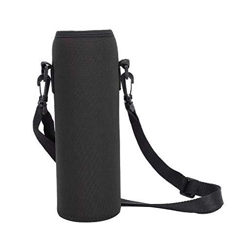 Portaborraccia, borsa a tracolla per borraccia, custodia per borraccia con cinturino staccabile e fibbia incorporata, apertura leggermente elastica per evitare che la bottiglia cada(Nero)