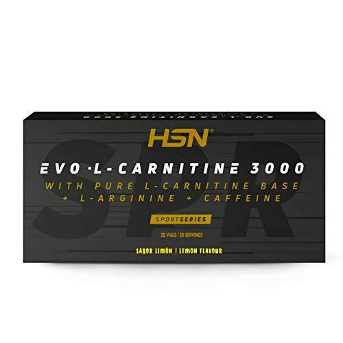 Carnitina Líquida de HSN Evo L Carnitine 3000 | Con L-Carnitina + Arginina + Cafeína + Vitamina B6 | Vegetariano, No-GMO, Sin Gluten, Sin Lactosa | Sabor Limón | 20 Viales de 10m