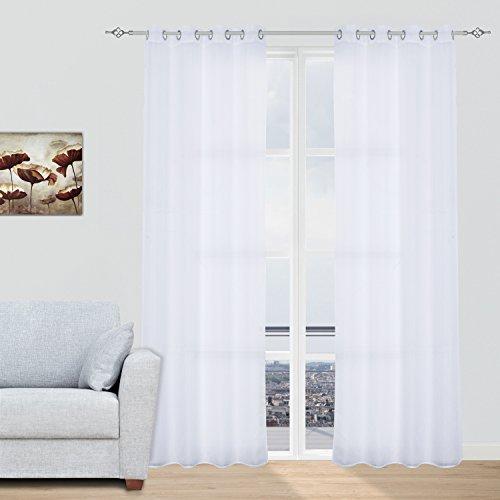 2x Visillos Transparentes Voiles Cortinas con Ojales Modernos Decorativos para Salón Dormitorio Balcón, 140x260cm, Blanco (varios colores disponibles)