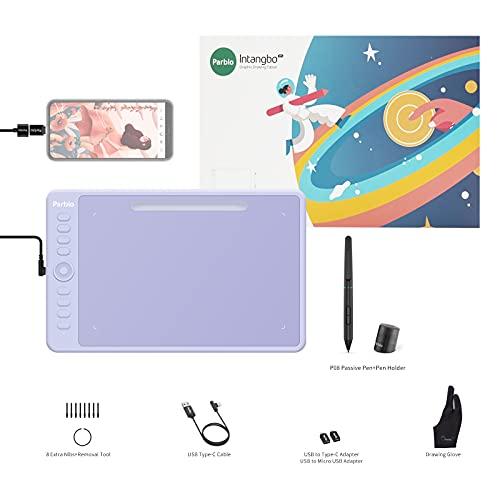 Parblo Intangboペンタブレット Mサイズ 10x6.25インチ ペンタブ Windows Mac Androidに対応 Chromebook対応 充電不要ペン 8192レベル筆圧 ペン入力 板タブ 絵描き デジタルアート イラスト OSU!ゲーム用 紫