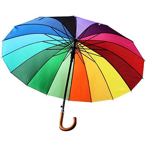 WOP ART XL Regenschirm in Regenbogenfarben bunt Durchmesser 104 cm mit Aufspann Automatik