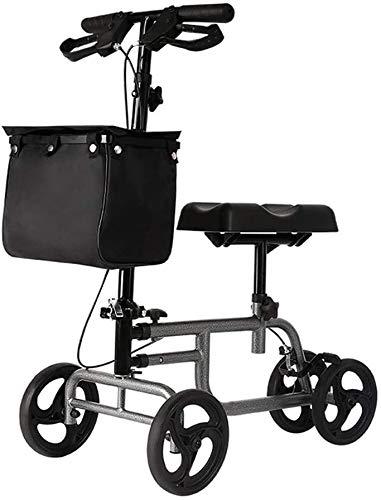 Rollator Knie Walking Aids 4 Räder faltbar, Rollator Walker mit doppeltem Bremssystem, Antriebsmedizinische Walkerhöhe Verstellbar gebraucht Indoor und Outdoor, Grau Faltbar und leicht zu tragen