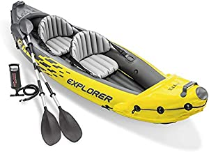 YKHOME Kayak, Inflatable Canoe,2-Person Inflatable Kayak Set with Aluminum Oars and High Output Air Pump