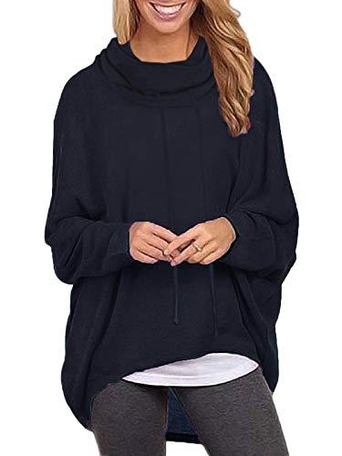 ZANZEA Sudaderas Mujer Cuello Alto Camiseta Manga Larga Irregular Pullover Color Sólido Jersey X-Azul Marino Cuello Alto L