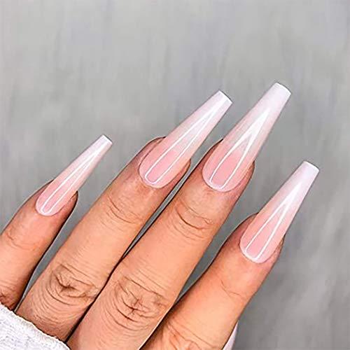 Brishow Sarg Lange Künstliche Nägel Ballerina Falsche Nägel gefälschte Nägel Nude Gradient Acryl Drücken Full Cover Stick auf die Nägel 24 Stück für Frauen und Mädchen