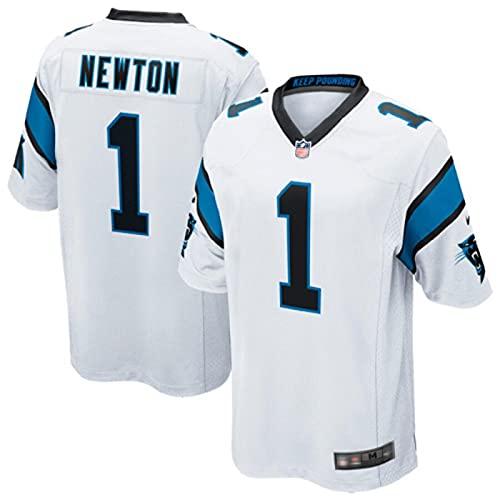 LKJHG Panthers 1# Newton Home and Away Besticktes American Football Trikot Kurzarm Rugby Fan Shirt für Männer Jugend Weiß/Schwarz/Blau S-XXXL M White