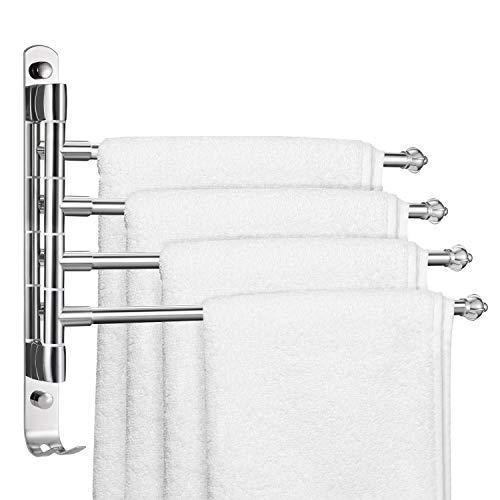 YOOKEA Handtuchhalter Bad mit 4 Armen, Handtuchhalter Ohne Bohren, 180° Drehung Edelstahl Handtuchhalterung Wand, Silber