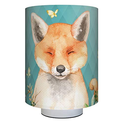 Anna Wand Tischlampe Friendly Forest Mint – Kinderzimmerlampe mit Waldtieren – inkl. Lampenschirm/Lampenfuß/Stoffkabel & Leuchtmittel – Kinder Tischleuchte für Mädchen & Jungen