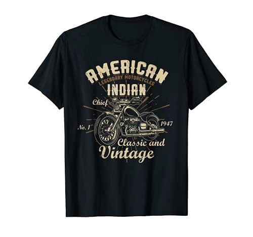 Retro Vintage American Motorcycle Indian for Old Biker Camiseta