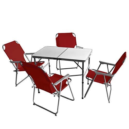 Wohaga 5tlg. Campingmöbel Set Campingtisch \'Bergen\', Aluminium, 90x60cm + 4X Campingstuhl, Rot/Strandmöbel Campinggarnitur Gartenmöbel