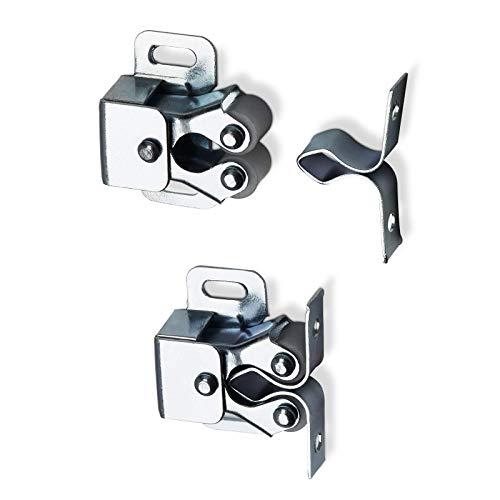 100 Stück Doppel-Rollenschnäpper verstellbar aus Stahl verzinkt inkl. Gegenstück Möbeltürschnapper Druckschnäpper Türschnäpper Möbelschnäpper Schubladenverschluß von SO-TECH®