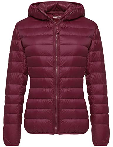 Wantdo Women's Packable Ultra Light Down Coat Warm Jacket Wine Red X-Small