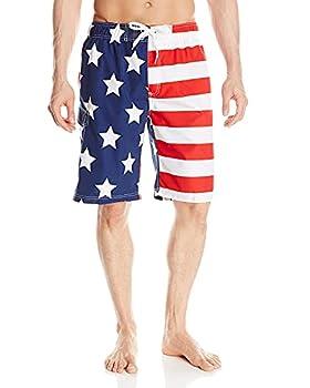 Kanu Surf Men s Barracuda Swim Trunks  Regular & Extended Sizes  USA American Flag X-Large