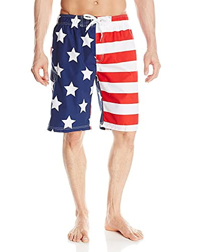 Kanu Surf Men's Barracuda Swim Trunks (Regular & Extended Sizes), USA American Flag, Medium
