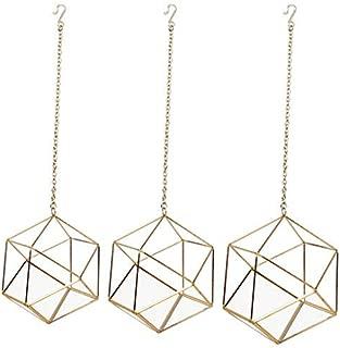 Koyal Wholesale Metal Geometric Terrarium Set of 3 (Geometric Set, Gold)