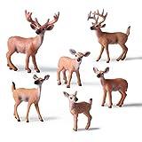 6 Piezas de plástico Educativo Animales del Bosque Juego de Juguete de Figuras Reno de Navidad Ciervo de cola blanca realista Modelo de acción Plástico Animales salvajes Fiesta de aprendizaje Favores