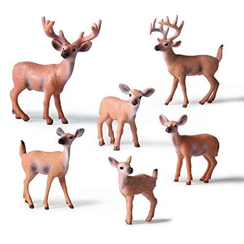 éducatifs Animaux de la forêt Chiffres Jouets Set 6 pièces Renne de noël réaliste cerf de Virginie modèle d'action en plastique animal sauvage apprentissage parti faveurs forêt éducative ferme jouets