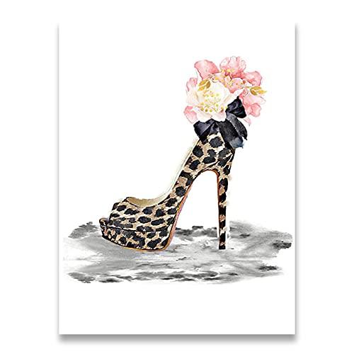 ThinkingPower Cuadros Decorativos Maquillaje Cartel de Moda Estampado Bolsa de Perfume Zapatos...