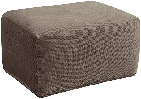 """Best Surefit Stretch Pique Oversized One Piece Ottoman Slipcover-Form Fit – Up to 20"""" Tall-Machine Wa"""