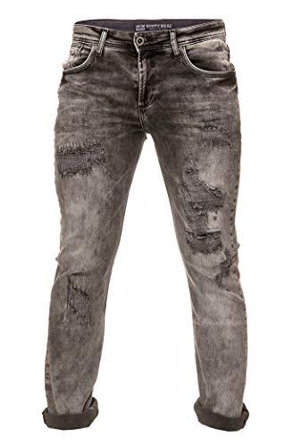 Rusty Neal Destroyed Herren Jeans Hose Schwarz Verwaschen Stretch Blck Denim Streetwear 143, Hosengröße:36/34