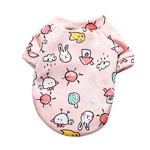 Uticon Haustier-Teddy-Kleidung für Katzen und Hunde, Winter-Cartoon-Obst-Muster, zweibeiniger Pullover, rosa Sonnenblume XL