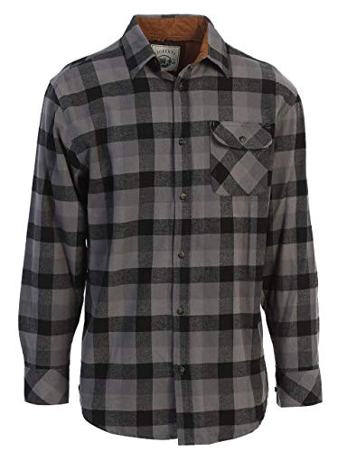 Gioberti Men's 100% Cotton Brushed Flannel Plaid Checkered Shirt with Corduroy Contrast, Black/Charcoal/Gray, Large