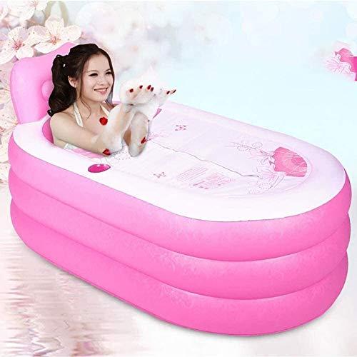 Rindasr Familierugleuning voor volwassenen, badkuip, 59 inch, draagbaar, roze, opblaasbare PVC badkuip met elektrische luchtpomp
