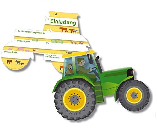 6 Einladungskarten * Trecker * für Kindergeburtstag von DH-Konzept // BHEKARTE001 // Kinder Geburtstag Party Jungen Bauernhof Farm Tiere Traktor Einladung Karte Kinder Geburtstag Party