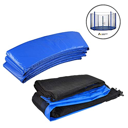 ULTRAPOWER SPORTS Filet de Sécurité et Coussin de Protection de Ressorts pour Trampoline avec Diamètre 244cm 305cm 366cm 397cm 6/8 Barres - (Bleu, 244cm 6barres)