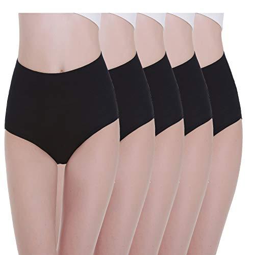 TUUHAW Unterhosen Damen Unterwäsche 5er Pack Slip Miederhose Baumwolle Hoher Taille Atmungsaktive_SCHWARZ_M