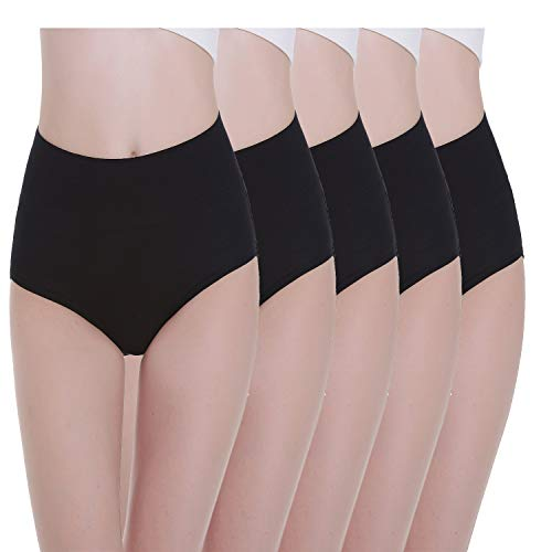 Tuuhaw Bragas para mujer, paquete de 5, braguitas, braga-faja, algodón, talle alto, transpirable Negro L