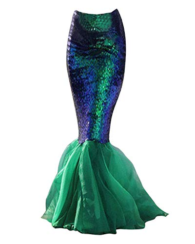 Quesera Women's Mermaid Tail Costume Sequin Maxi Skirt Cosplay Party Dress