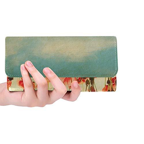 Einzigartige benutzerdefinierte Vintage Papier Texturen Feld Mohn Frauen Trifold Wallet Lange Geldbörse Kreditkarteninhaber Fall Handtasche