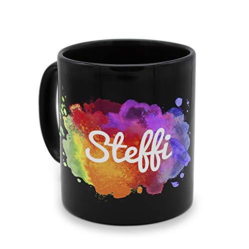 printplanet - Tasse Schwarz mit Namen Steffi - Motiv: Color Paint - Namenstasse, Kaffeebecher, Mug, Becher, Kaffeetasse