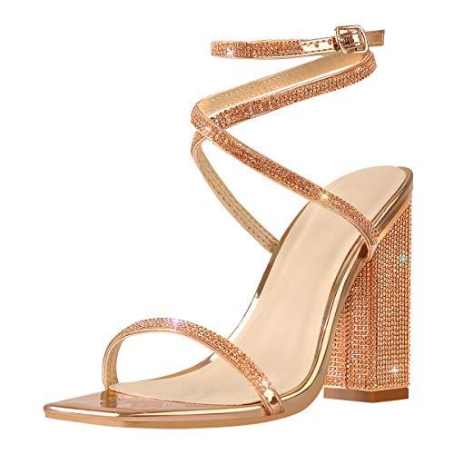 MissHeel Rhinestone Chunky Block Heels for Women Glitter Heeled Sandals Square Toe Heels Rose Gold Ankle Strap Sandles Sparkling Wedding Shoes Size 10
