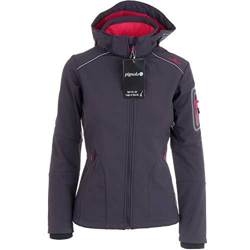 CMP Softshelljacken für Damen Softshell Jacke Fahrradjacke Fahrradregenjacke schwarz große Mädchen Funktions-Outdoor-Wandern-Jacke atmungsaktiv, Größe:42, Farbe:Antracite-Ibisco-Black