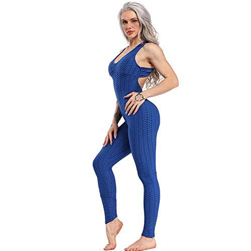 Mimoka Monos Pantalones Deportivos Mujer Elástico y Transpirable | Leggins Mujer Fitness Push up con Tirantes para Yoga GYM Running (L, Azul Oscuro)